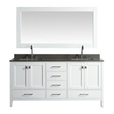 "Design Element London 72"" Vanity, White With Quartz Top, Gray and Mirror"