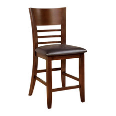 Hillsview I Transitional Counter Hight Chair Brown Cherry Set Of 2