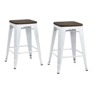 """DHP Fusion Industrial Metal Counter Stools, White, Set of 2, 24"""", White, Counter"""