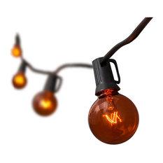10 Light Transparent Orange Globe Set