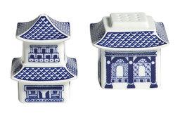 Blue Pagoda Salt & Pepper Shakers