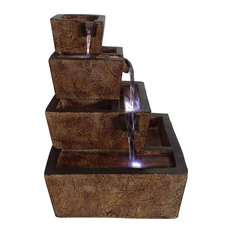 4 Tier Waterfall Fountain, Resin Construction With Stone Texture and LED Lights