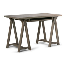 Sawhorse Solid Wood Distressed Grey Desk With Keyboard Tray