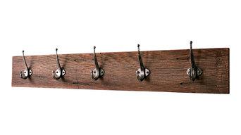 """5-Hooks Reclaimed Barn Wood Coat Rack, 36"""""""