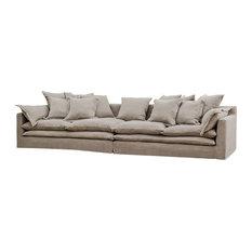 Donatella Coastal Beach Gray Sand Loose Pillow Sofa   Sofas