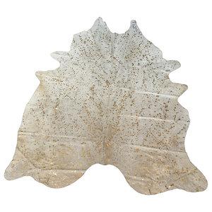 Metallic Cowhide Rug, 180x190 cm, Gold and Beige