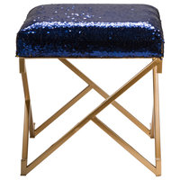 """17.30"""" Sapphire Blue and Gold Shimmering Sequin Stool with Metal Gold legs"""
