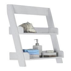 "Bathroom Accent - 24""H, White Wall Mount Shelf"
