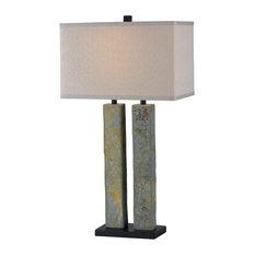 Barre Table Lamp, Green Slate, Natural Slate Finish