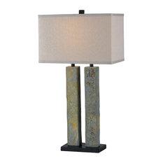 Kenroy Home 21039SL, Barre Table Lamp, Natural Slate