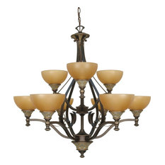 Dorado Bronze 9-Light Chandelier With Sepia Glass