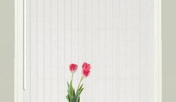 Stunning British made to measure bespoke Pallette FR White Vertical Blind