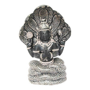 Mogul Interior - Patanjali Statue Hand Carved Gorara Stone Sculpture with 5 Headed Serpent 8 Inch - Decorative Objects And Figurines