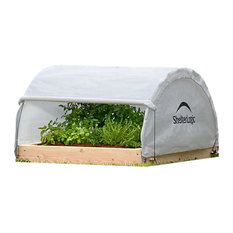"""4'x4'x1'11"""" Round Raised Bed Greenhouse With Fully Closable Cover"""
