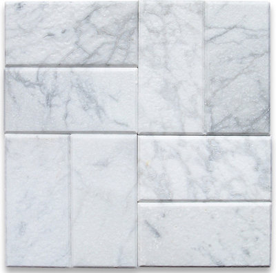 Transitional Wall And Floor Tile Carrara White Marble Subway Tile 3x6 Tumbled