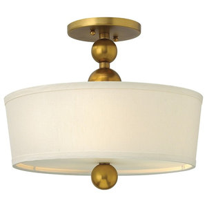 3-Light Semi-Flush Ceiling Light, Vintage Brass