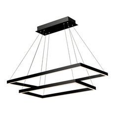 Atria Duo LED Adjustable 2-Tier Chandelier, Black