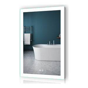 "LED Lighted Mirror Bathroom Backlit Mirror with Dimmer Defogger, 24""x36""-2 Butto"