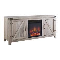 Barn Door Fireplace TV Unit, Grey Wash