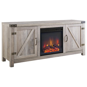 Barn Door Fireplace TV Unit, Grey Wash