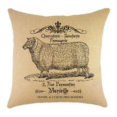 French Country Sheep Burlap Pillow
