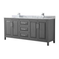 """Daria 80"""" Dark Gray Double Vanity, Carrara Marble Top, Square Sinks, No Mirror"""