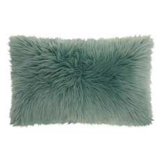 Mina Victory Fur Remen Poly Faux Fur Celadon Throw Pillow