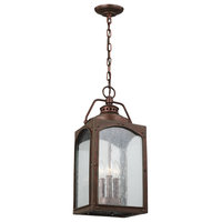 Randhurst 3 Light Hanging Lantern in Copper Oxide with Clear Seeded Glass Plates