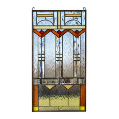 "Stained Glass Clear Beveled Window Panel FRANK LLOYD WRIGHT ""TREE OF LIFE""17*34"