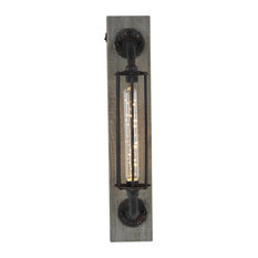 Black Iron Industrial LED Wall Sconce, 20 x 4 x 6