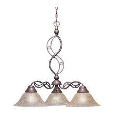 "Jazz 3 Light Chand Bronze Finish W/10"" Amber Marble Glass (236-BRZ-513)"