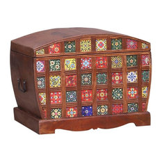 Frederica Mosaic Tile Reclaimed Wood Storage Trunk