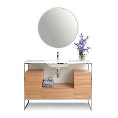 """Tory Bath Vanity Set, Walnut With Steel Frame, 48"""""""