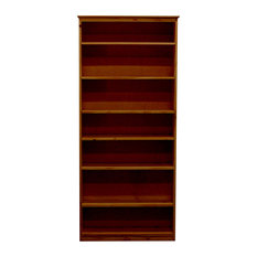 York Bookcase, 11_x37x84, Pine Wood, Natural Teak