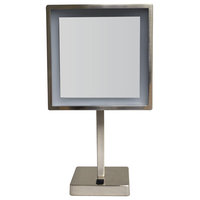 Whitehaus WHMR295-BN Square Freestanding LED 5X Magnified Mirror