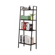 JS HOME 4-Tier Ladder Bookshelf, Black