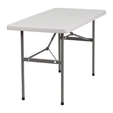 Flash Furniture 24''Wx48''L Granite White Plastic Folding Table