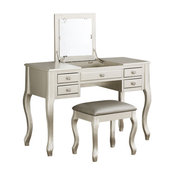Vanity Set Featuring Stool and Mirror Silver