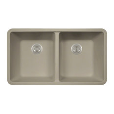 Polaris Sinks P208ST Slate Double Equal Bowl AstraGranite Kitchen Sink