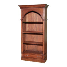 Mbw Furniture 6 5 Tall Distressed Solid Mahogany Arched Open Bookcase Bookshelf Bookcases