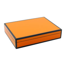 Lacquer Long Stationery Box Box, Orange and Black