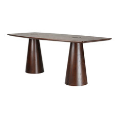 Modern Contemporary Urban Design Kitchen Rectangular Dining Table Brown Wood