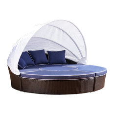 GDF Studio Lamada Outdoor Wicker Daybed With Water Resistant Cushions and Cover