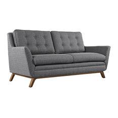 Saxton Upholstered Fabric Love Seat/Gray