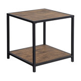Industrial Side End Table with Metal Frame and Fiberboard Top, Brown