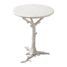 Bijou Global Bazaar White Tree Branch Iron Marble Round Accent End Table    Side Tables