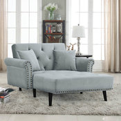 Modern Velvet Fabric Recliner Sleeper Chaise Lounge - Futon Sleeper Chair, Light