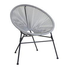 Charles Bentley Garden Furniture Retro Rattan Lounge Conservatory Chair, Grey