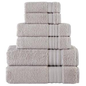 Grey Mist 6-Piece Turkish Cotton Towel Set