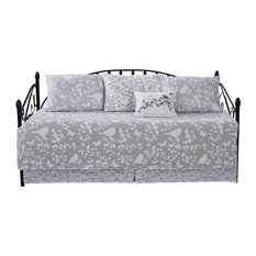 """Birdsong 6-Piece Quilted Daybed Set, Gray, Daybed, 75""""x39"""""""